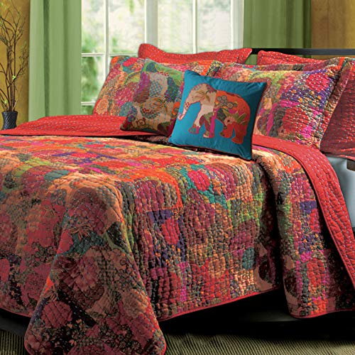 5 Piece Set Cal King - Greenland Home Jewel Quilt Set, 5-Piece King/Cal King, Red