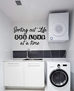 Laundry Room Decor | Vinyl Wall Decal Lettering | Sorting Out Life One Load At a Time Quote | Large, Small Sizes | Black, Brown, Red, Blue, Green, Purple, Other Colors