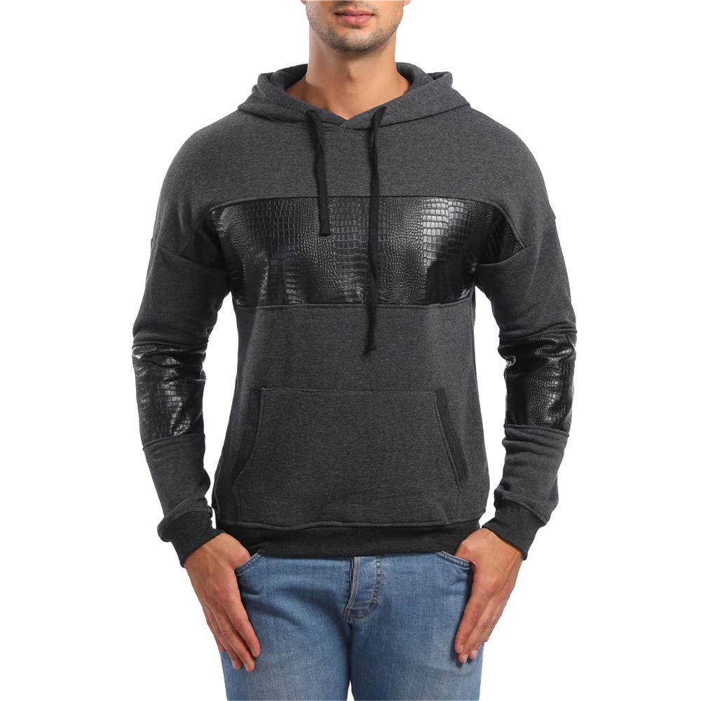 Realdo Big Promotion Mens Sweatshirt Pullover Autumn Long Sleeve Solid Splice Pockets Hoodie Coat Outwear