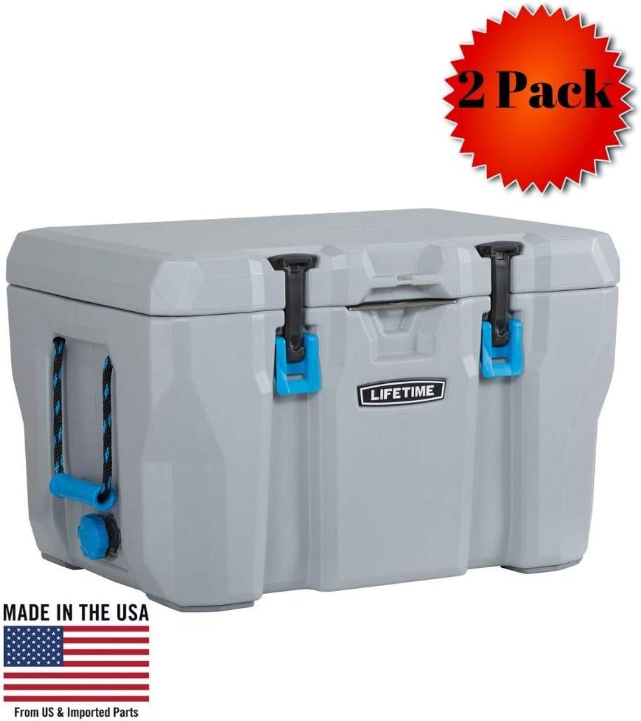 Lifetime 55 Quart High Performance Cooler, Grey, 55-Quart – Pack of 2