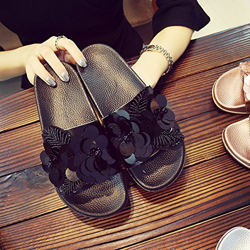Slippers Pink Outdoor Crystal Flat Outside Flower Home Women Slippers DONEW SHOES Indoor Non Slip g4BOzcqw