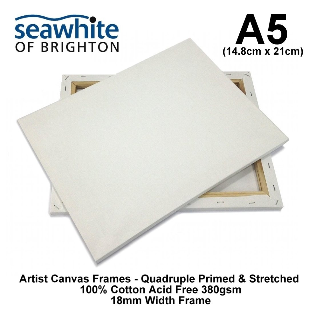 A5 (14.8cm x 21cm) Artist Canvas Frame Acrylic Stretched Primed Frame Box Heavyweight 380gsm 100% Cotton Acid Free 1.8cm Width Frame (1 Frame) Seawhite