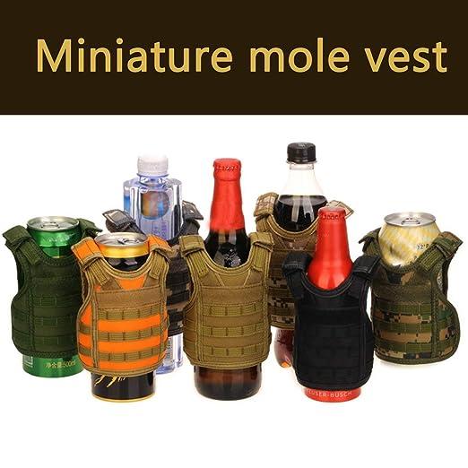 Taktische Weste Schicht Military Bierflasche Abdeckung Getr/änkek/ühler Mini Molle Weste Verstellbare Schultergurte f/ür Flasche Dose Rone Leben