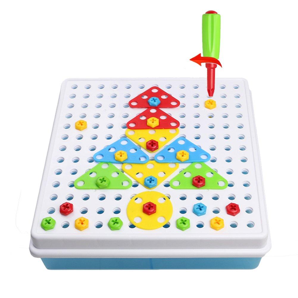 Jeu De Construction Mosaïque Jouet Assemblage Puzzle Blocs 180 Pcs Enfant Fille Garcon 3 ans 4 ans 5 ans TLH