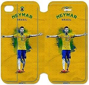iPhone 4 4S Funda, Flip funda para iPhone 4 4s, [] Neymar premium Flip PU ??cuero Funda para iPhone 4 4s [DDUIPH3465769]