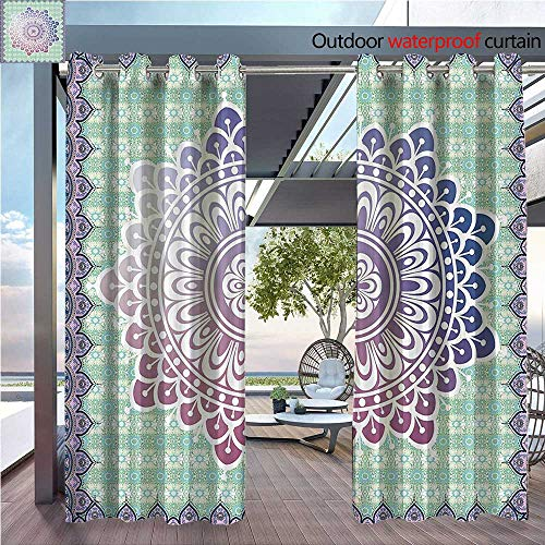 DESPKON Facial Blend Fabric high Density rocosm Authentic Mandala with Floral Petal Forms in Soft Pastel Shading for Outdoor W72 x L108 ()