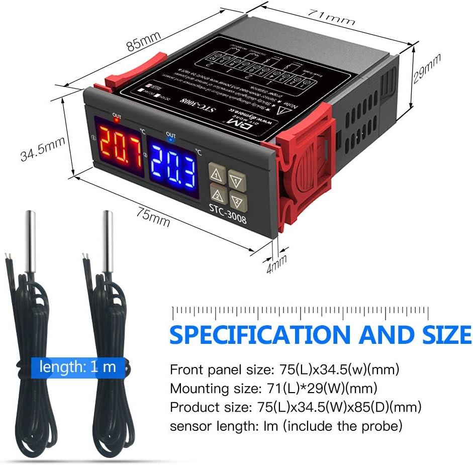 12V//24V//220V STC-3008 Dual Digital Temperature Controller Thermostat Heat I8V2