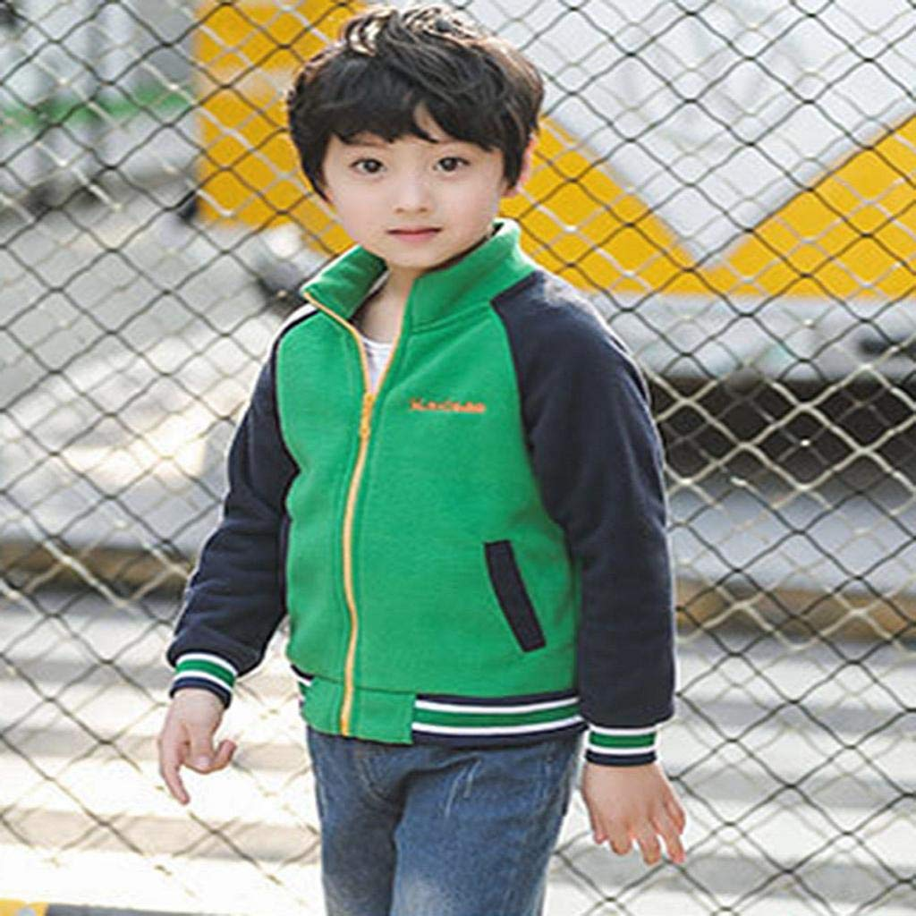SAKAMU-Toddler Kids Baby Boys Fleece Splice Jackets Baseball Coat Outwear Clothing