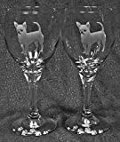 Muddy Creek Reflection Smooth Coat Chihuahua Dog Laser Etched Glassware Set (2, TDW) For Sale