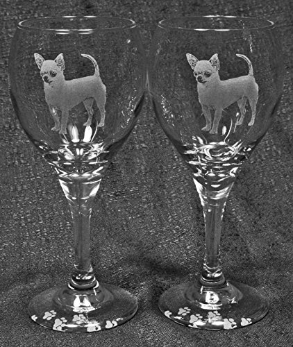 Muddy Creek Reflection Smooth Coat Chihuahua Dog Laser Etched Glassware Set (2, TDW)