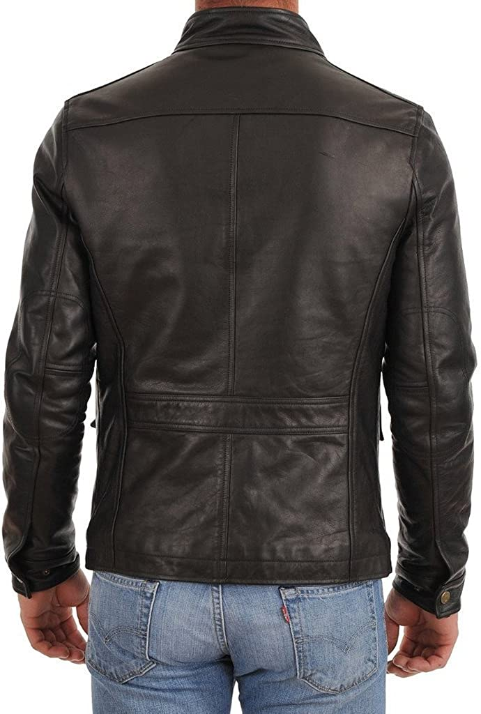 New Mens Leather Motorcycle Jacket Slim fit Leather Jacket Coat A598