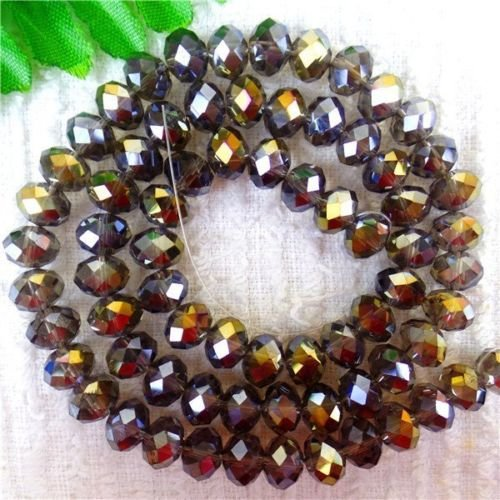 TryMarket(TM) 5Strands Gray Crystal Glass Faceted Rondelle Spacer Wheel Beads 16.9inch HH4355 ()