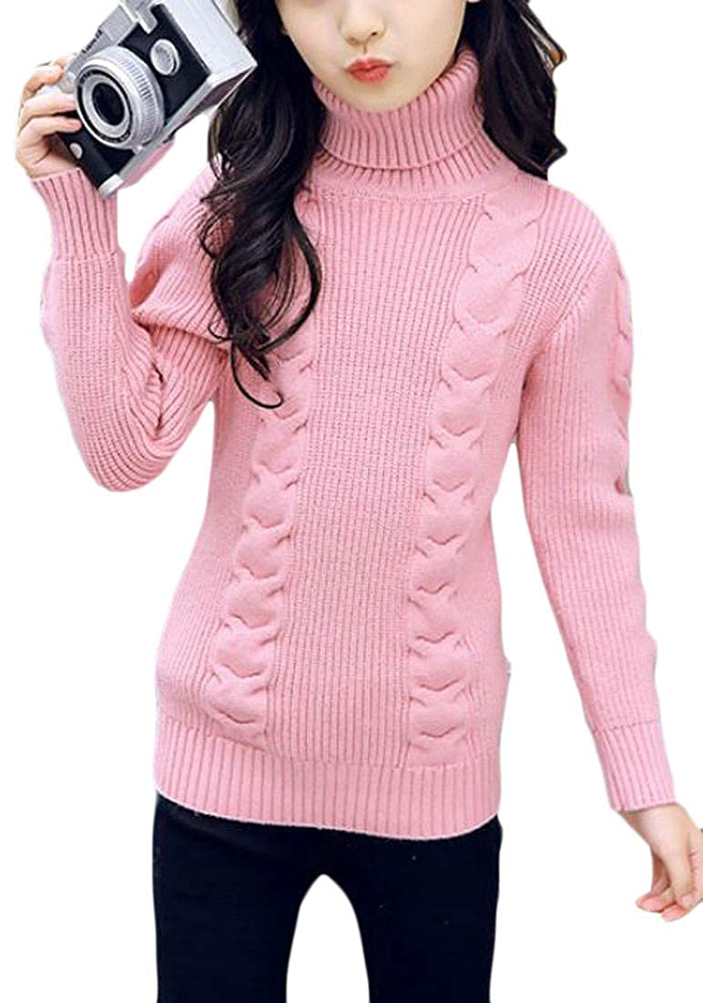 JSY Girls Turtleneck Autumn Pure Color Knitted Jumper Pullover Sweater