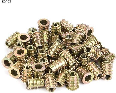 50Pcs M6 Zinc Alloy Inside Hex Socket Insert Nuts for Wood Furniture 9 Types Hex Nuts :M6*13