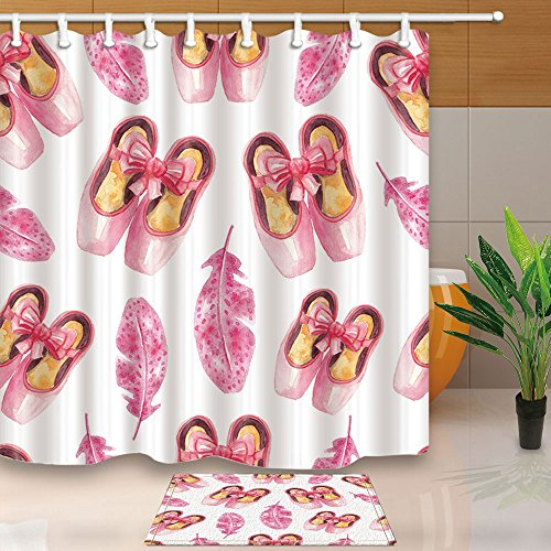 NYMB Ballerina Ballet Dancer Decor, Watercolor Pink Pointe Shoes and Feathers for Girl, 69X70in Mildew Resistant Fabric Shower Curtain Set With 15.7x23.6in Flannel Non-Slip Floor Doormat Bath Rugs