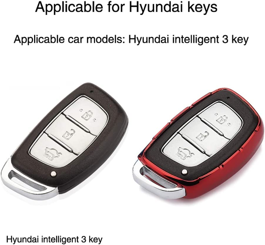 Silver YIJINSHENG TPU Car Key Soft Plating Protection Shell Case Cover for Hyundai Tucson Elantra Sonata Santa IX30 IX35 3//4 Buttons Smart Key Keyless Remote FOB Shell Key Chains