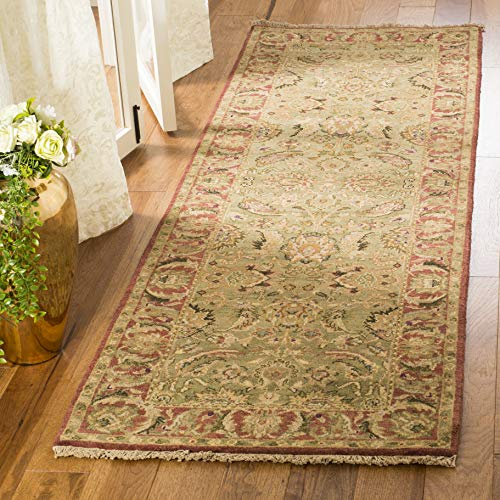 Safavieh Old World Collection OW115E Hand-Knotted Traditional Oriental Light Green and Rust Wool Runner (2'6