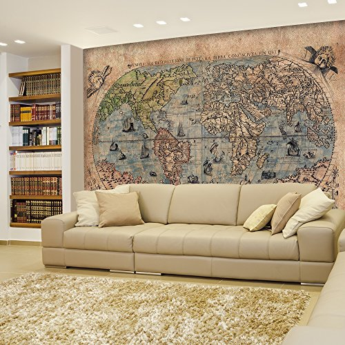 Wall26 - Antique Map of the World - Complete with Sea Monster Illustrations - Wall Mural, Removable Sticker, Home Decor - 66x96 inches