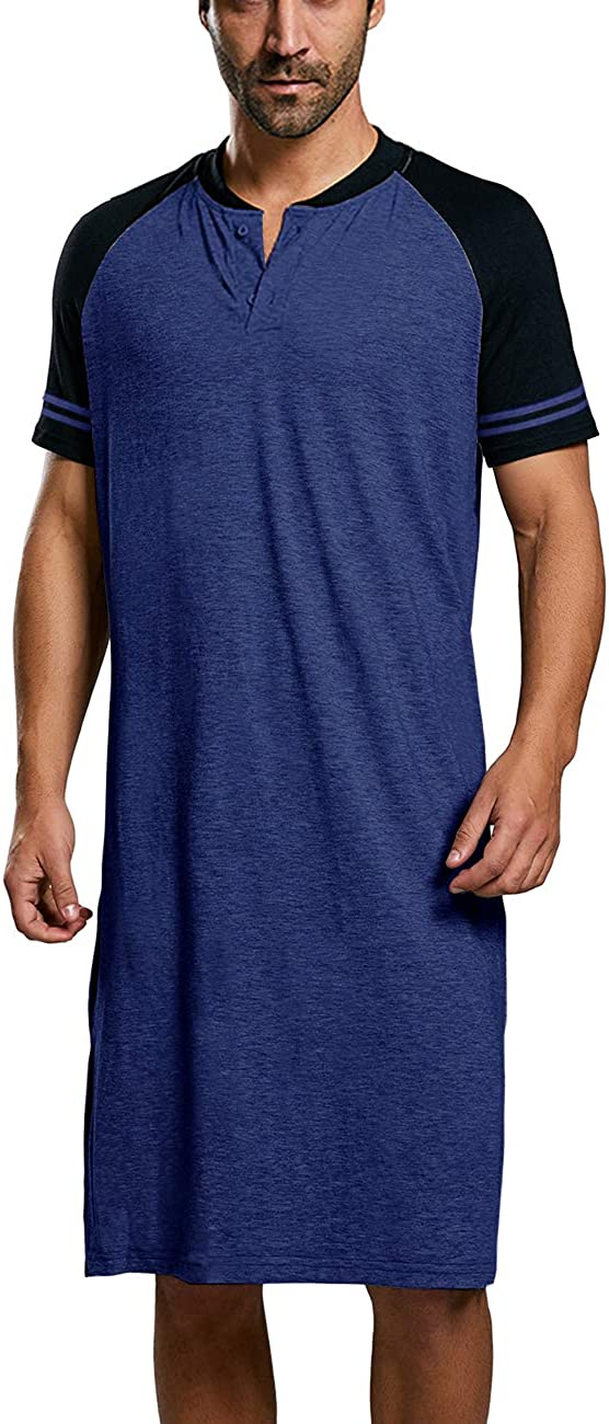 Pretifeel Mens Nightshirts Short Sleeve Casual Cotton Sleepshirt V Neck Raglan Nightgrown Pajama Long Lightweight Sleepwear