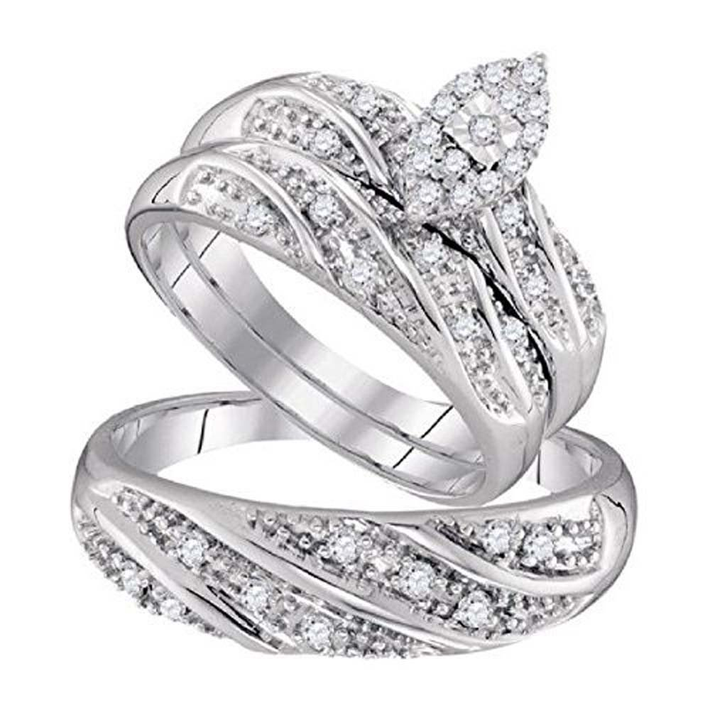Smjewels His & Her 14k White Gold Fn 0.32 ct Marquise Shape Diamond Trio Wedding Ring Set by Smjewels