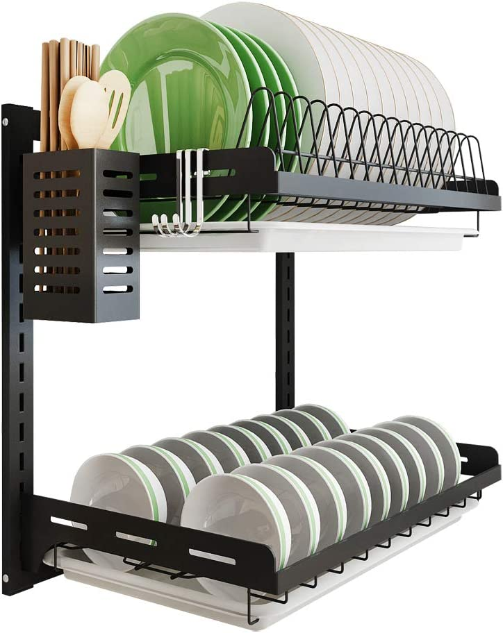 Amazon Com Kitchen Dish Rack Hanging Drying Plate Organizer Storage Shelf Over The Sink Junyuan 2 Tier Wall Mount Bowl Holder With Drain Tray With 3 Hooks Stainless Steel Black Coating 2 Tier
