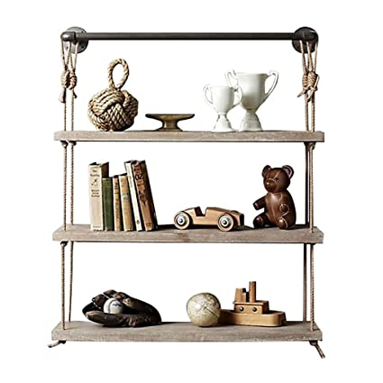 Amazoncom Bookshelf Loft Wrought Iron Solid Wood Wall Shelf