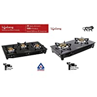 Lifelong Glass Top Gas Stove, 3 Burner Gas Stove, Black (1 Year Warranty with Doorstep Service)
