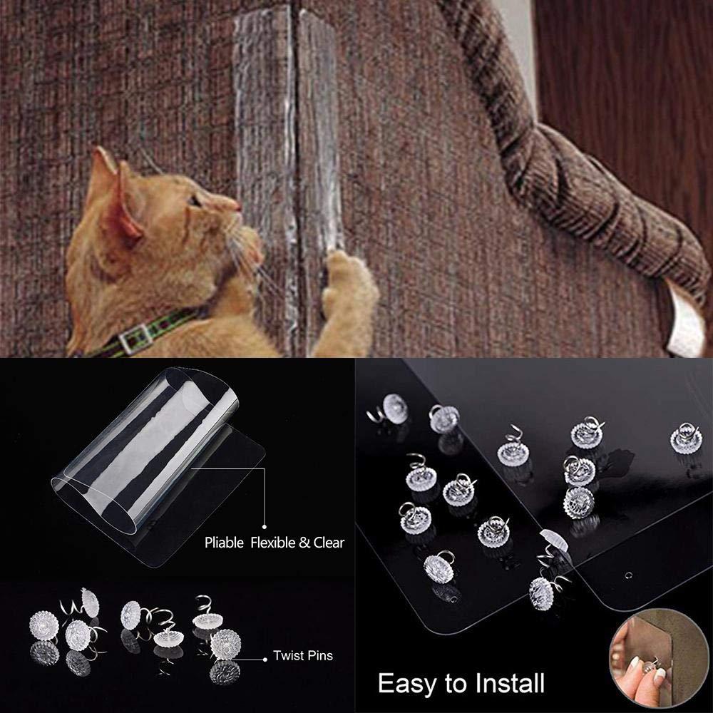 AUOKER - Protector de sofá para Gatos, plástico, Protector de sofá de Gato, 2 Unidades, excelente protección para Gatos, Juego de Mesa, sofá, Fundas ...
