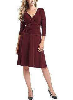 sekitoba-japan.inc 3/4 Sleeve Slimming Fit Flare V Neck Dress for