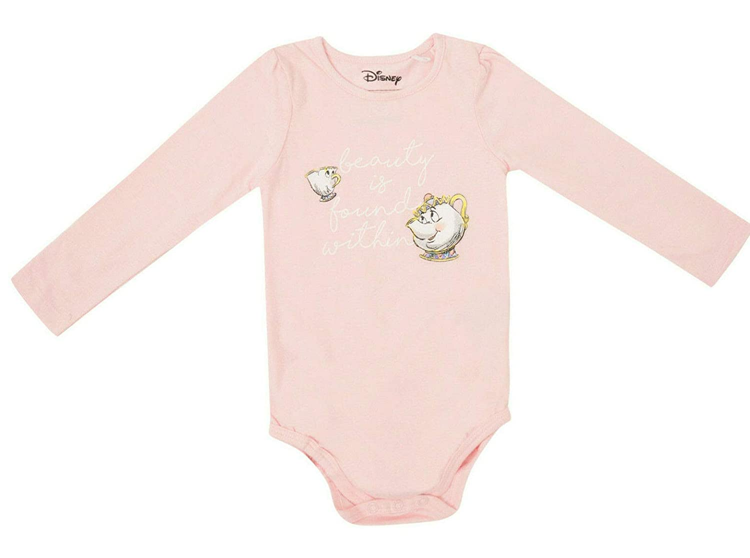 Baby Girls Bodysuit Disney Beauty and The Beast 0-18M Long Sleeved Pink Romper