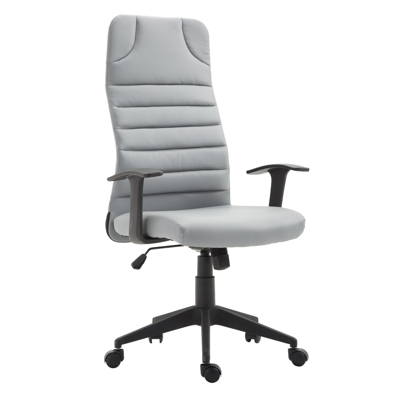 HOMCOM High Back Ergonomic Desktop Computer Chair Lumbar Support Arms - Gray