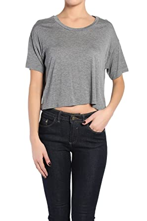 a615f879d2f250 TheMogan Women s Boxy Slouchy Short Sleeve Loose Crop Top Heather Grey S