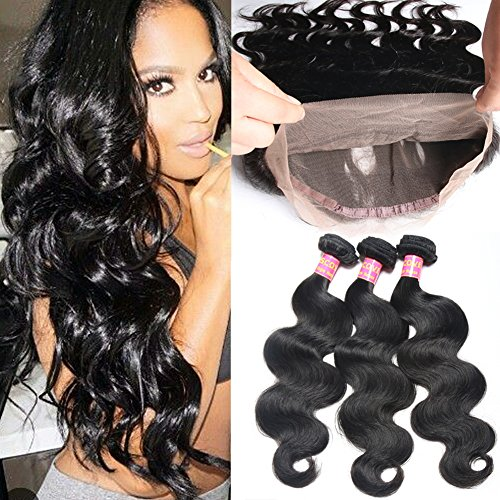 Mscove Hair 360 Lace Frontal with Bundles Body Wave Brazilian Virgin Human Hair Weaves 3 Bundles with 360 Lace Frontal Closure (20 22 24inch & 18inch) by MSCOVE