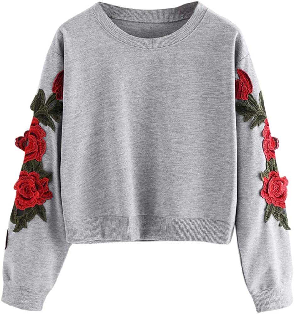 Womens Pullover Embroidered Rose Patch Long Sleeve Loose Casual Sweatshirt Coat