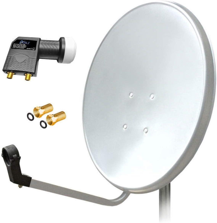 4-Teilnehmer 80cm Spiegel 2x HDTV Sat-Receiver FULL HD Satanlage Komplettanlage