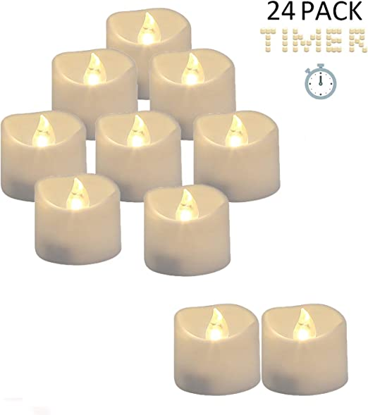 18 hours off Mini Flameless 12 Tea Lights Led Flickering with Timer 6 hours on