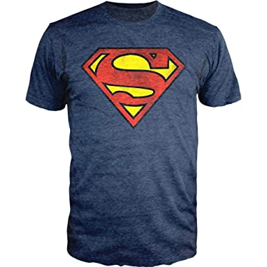 0dc3a9f0 Amazon.com: DC Comics Superman Logo Navy Heather T-Shirt Officially ...