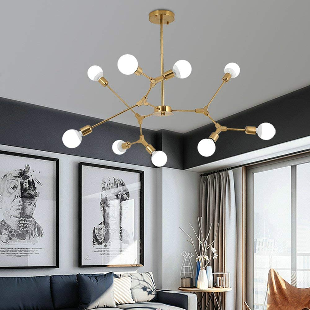 NIUYAO Industrial Edison Bulb Ceiling Chandelier Wrought Iron 8 Light Vintage Semi Flush Mount Ceiling Light Brushed Nickel Finished