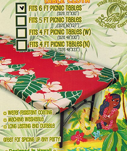 - Hawaiian Tropical fitted Tablecloth (Fits 6 feet picnic tables 72