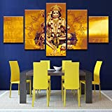 hanuman picture - [LARGE] Premium Quality Canvas Printed Wall Art Poster 5 Pieces / 5 Pannel Wall Decor Hanuman Gold Painting, Home Decor Pictures - With Wooden Frame