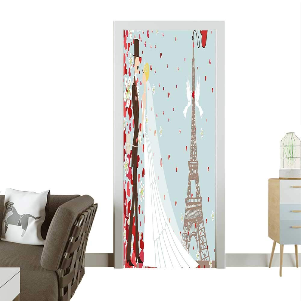 Homesonne Door Art Sticker Couple Hand Drawn Paris Eiffel Getting Married He Blue Red White Room decorationW23 x H70 INCH