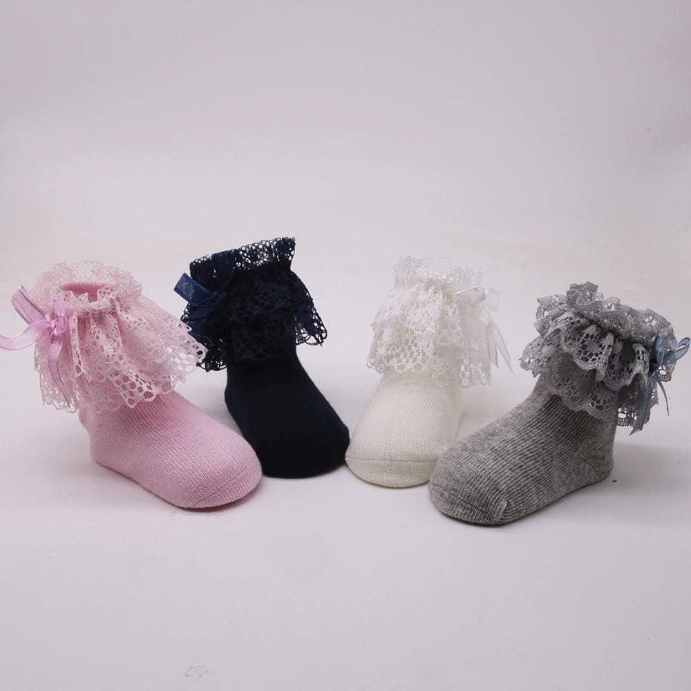 JoJody 4 Paires Chaussettes B/éB/é Fille Bapt/êMe En Dentelle /à Volants En Coton Princesse Courtes Respirant Robe Chaussettes De Sol
