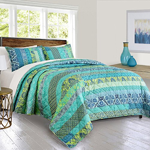 Compare Price Blue And Green Striped Quilt On