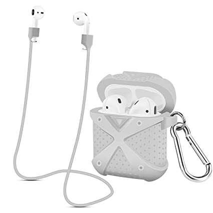 huge discount 74502 e3916 Airpods Case, Choncyn X Full Protective Case Silicone Charging Case with  1Anti-lost Strap,1 Pairs of Ear Hook for Apple Airpods(grey)