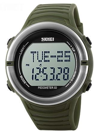 mastop corazón tasa Deportes cronómetro función de Reloj podómetro Digital 50 m Resistente al Agua Reloj