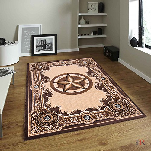 HR TEXAS STAR COMBINED WITH TRADITIONAL DESIGN CONTEMPORARY AREA RUG (5 FT X 7 ()