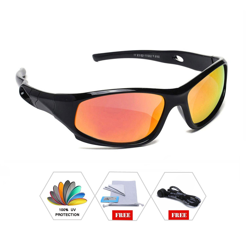 AODUOKE Sports Polarized KIDS Sunglasses For Boys Girls Children Mirrored Lens Sunglasses With Strap (Black   Orange Lens)