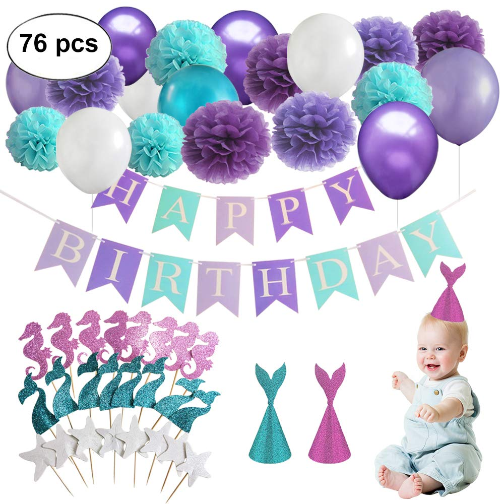 Mermaid Party Supplies Under the Sea Party Decorations with Happy Birthday Banner, Balloons, Cupcake Toppers, Tissue Paper Pom Poms Flowers for Birthday Theme Party, Baby Shower Decor