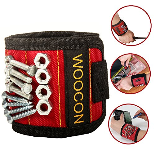 Woocon Magnetic Wristband for Holding Tools, SUPER STRONG MAGNET, UPGRADED 5Embedded Super Powerful Magnets, Holds Small Metal Tools, Screws, Nails, Bolts Tightly While Working.