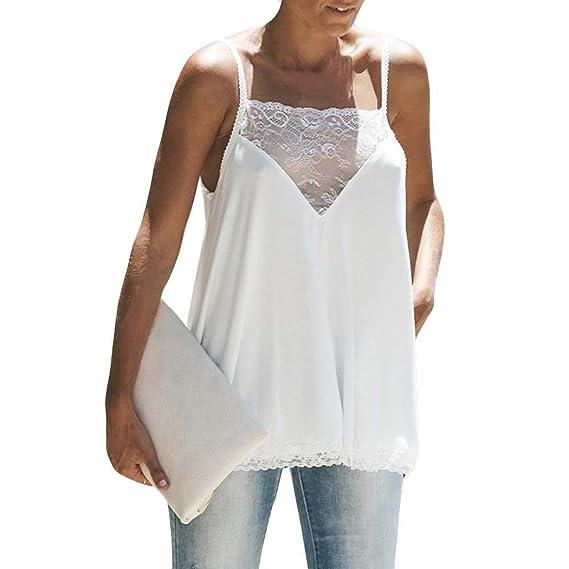 Longra Moda para mujer de encaje de algodón Sexy chaleco Camisola sin mangas camiseta Casual Tank